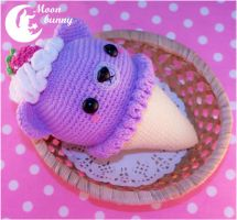 Crochet ice cream bear - violet by CuteMoonbunny