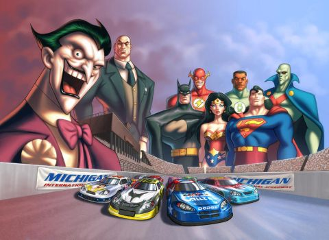 JLA NASCAR Promo Image by UdonCrew