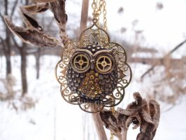 Steampunk golden owl by Hiddendemon-666