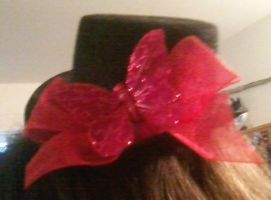 Mini tophat red bow w/ butterfly by Rainbowkitty-Designs