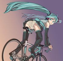 MIKU HATSUNE ridinng bike by h8r