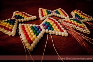 Rainbow Kandi Bows by Kiara-Ann