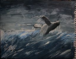 Whale breaching in storm by DancesWithShadows