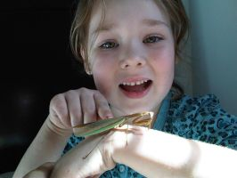Daughter and Tenodera sinensis by bugadrienne