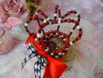 Red, Black, and White Beaded Lolita Crown by bnybriek