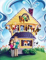 Kids and Dogs Overflowing House by ADOlson