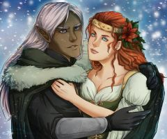Happy Holidays Drizzt and Catti Bri by ladyarrowsmith