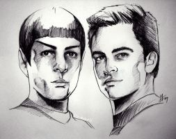 Star Trek - Spock and Kirk by kleinmeli