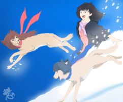 Wolf Children Ame and Yuki by SakuraCheetah
