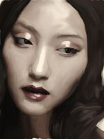 asian woman portrait on Ipad by kartinka75