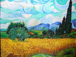 cornfield with cypresses by Lauryell