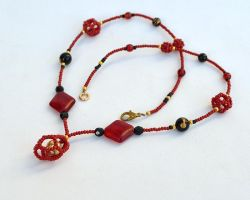 Red necklace with beaded beads N133 by Fleur-de-Irk