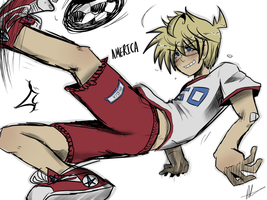 AMERICA KICKING BALLS by akitokun1