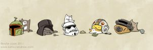cats in star wars helmets by katiecandraw