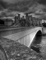 Conwy Castle BW by purplepolarbear