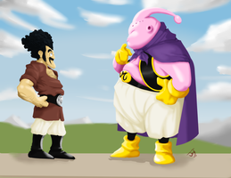 Buu and Mr. Satan by jtraveller
