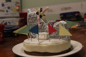 Newton Rides Rollercoaster Cake by thanxforthefish