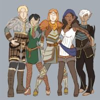Dragon Age 2 Companions posed as the Spice Girls by RayeLian