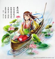 lotus princess , watercolor without line by icecream80810
