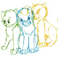 Ivypaw, Brightpaw, and Mothpaw by Sketchly