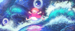 Ponyo on the Cliff by the Sea by FleetingThunderBlade