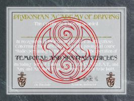 TARDIS Driving Certificate by Carthoris