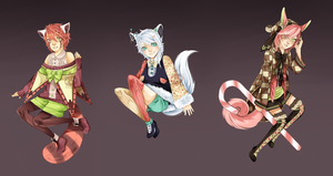 Kimonomimi fluffy tail batch paintings by Pandastrophic