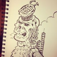 Melting Skull Thing with Thing on his Head by thegreck