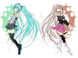 Hatsune Miku and IA by Claire-Aegis-Faust