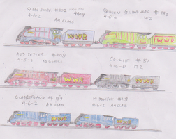 Three double headers of streamliners by WhippetWild
