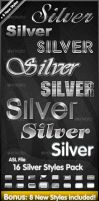 16 Silver Styles Pack by PhotoshopStyles
