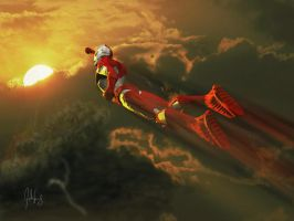 Ultraman into the Fire by manguy12345