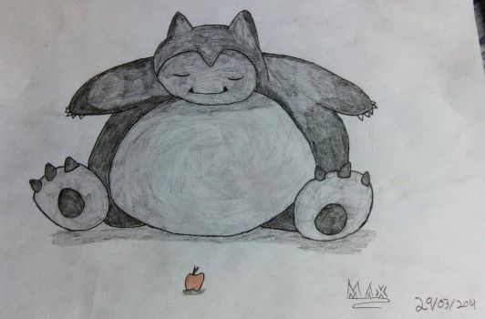 Drawn Snorlax with red apple by CrimsonRoseMaster