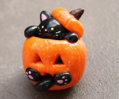 Black Cat in  a Pumpking Halloween Sculpture by Debra-Marie