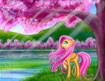 Fluttershy Viewing Cherry Blossoms by LinksLove