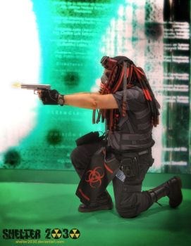 Cybergoth cybercop shooting by Shelter2030