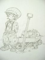 Little kid with toy wagon. Nothing special. by SageofOz