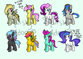 Pony Shipping Adoptables 1 - Open by SquishyAdopties