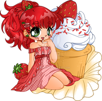 Strawberry Shortcake Cupcake Chibi Commission by YamPuff