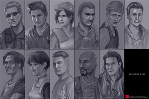 All characters in Resident Evil 1 by yachter
