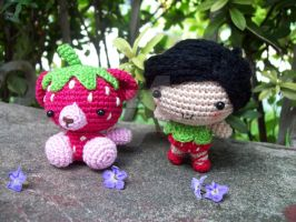 Strawberry Girl and Bear by oddSpaceball
