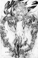Lady Death in a Heart shaped fountain by ebas
