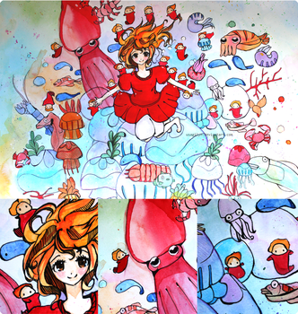 Ponyo: Underwater Creatures! by lynchees