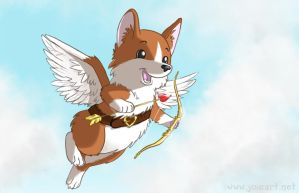 Cupid Corgi by JoieArt
