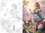 Alice in Wonderland - side by side by Carl-Riley-Art