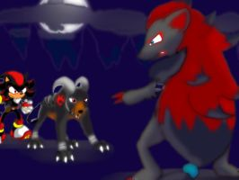Shadow and Houndoom: A WILD ZOROARK APPEARED by SEGAmastergirl