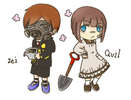 Zei and Quil - ACNL OCs by Rizei