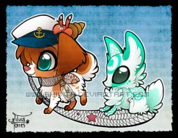 Chibi Seacat and Suna by Shivita