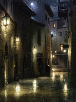 Rain-soaked Barcelona by atomhawk