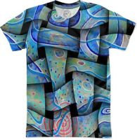 Blue-textile abstract shirt by santoshirts